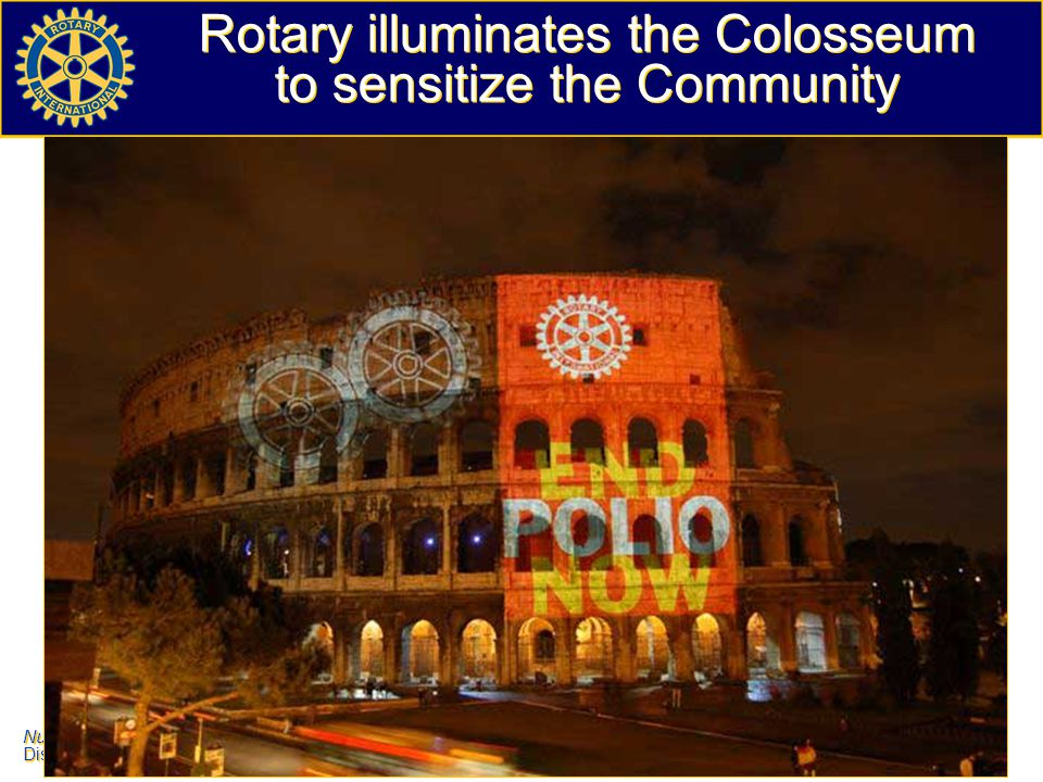 Rotary illuminates the Colosseum to sensitize the Community