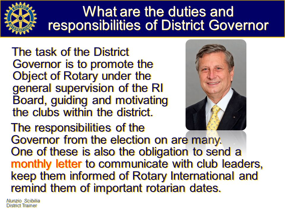 What are the duties and responsibilities of District Governor