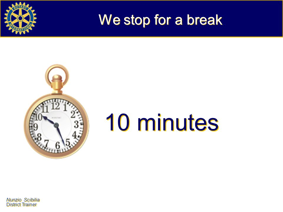 We stop for a break 10 minutes