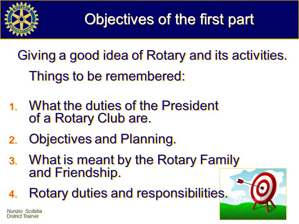 Objectives of the first part
