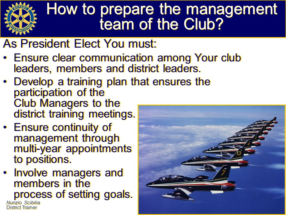 How to prepare the management team of the Club