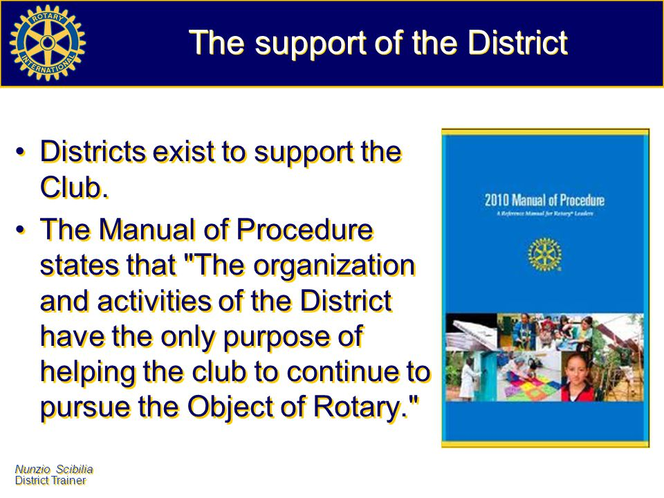 The support of the District