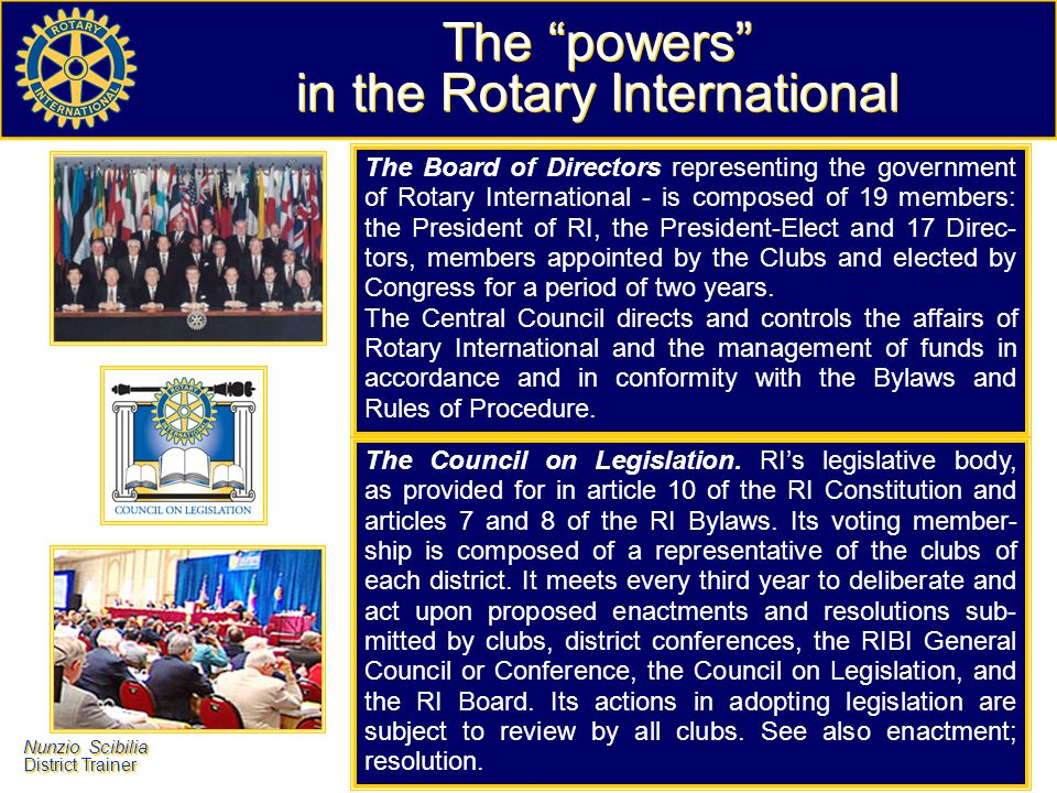 The powers in the Rotary International