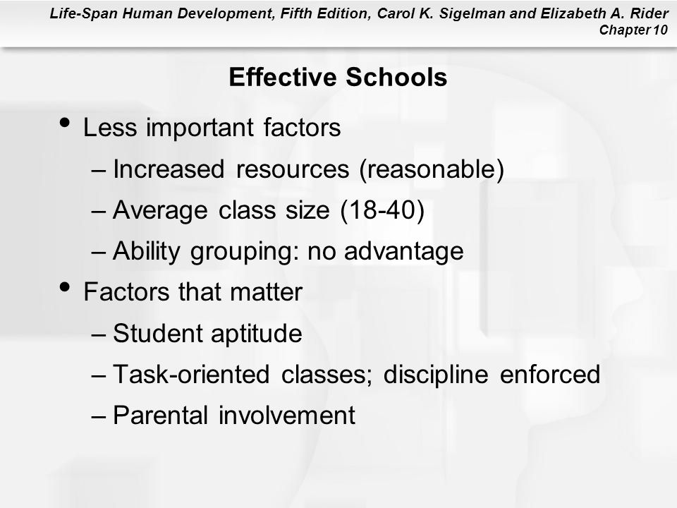 Effective Schools Less important factors. Increased resources (reasonable) Average class size (18-40)