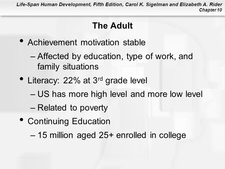 The Adult Achievement motivation stable. Affected by education, type of work, and family situations.