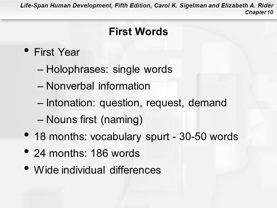 First Words First Year. Holophrases: single words. Nonverbal information. Intonation: question, request, demand.