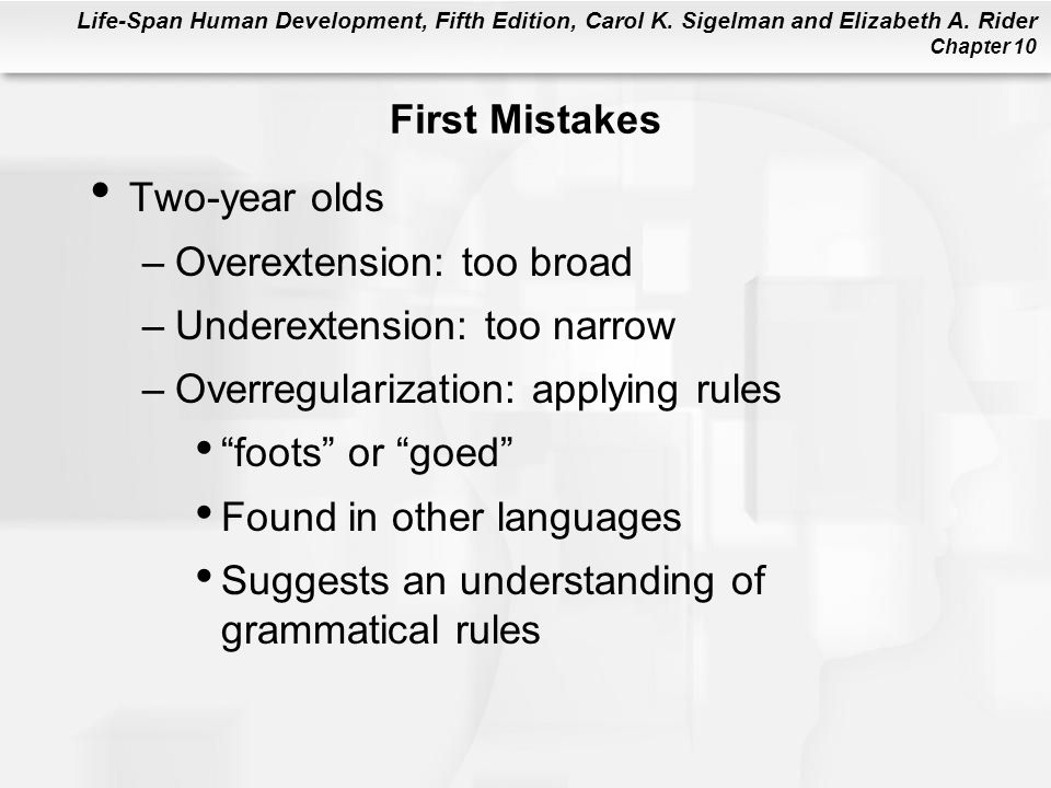First Mistakes Two-year olds. Overextension: too broad. Underextension: too narrow. Overregularization: applying rules.