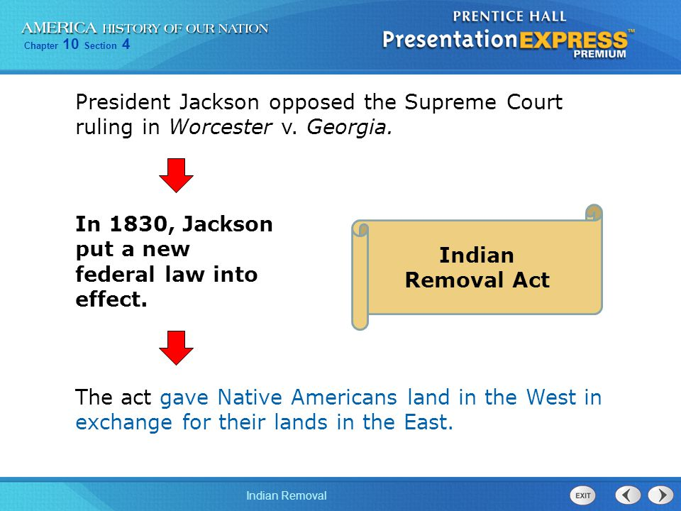 President Jackson opposed the Supreme Court ruling in Worcester v