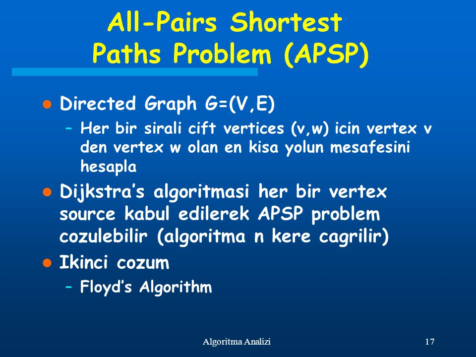 All-Pairs Shortest Paths Problem (APSP)