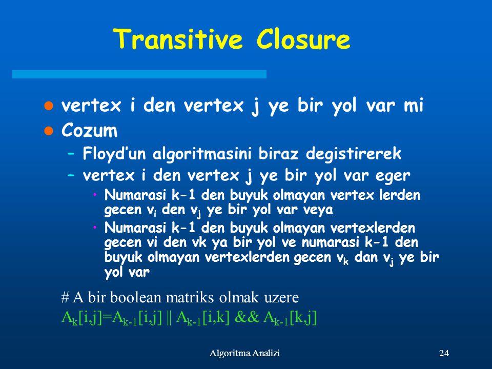 Transitive Closure vertex i den vertex j ye bir yol var mi Cozum