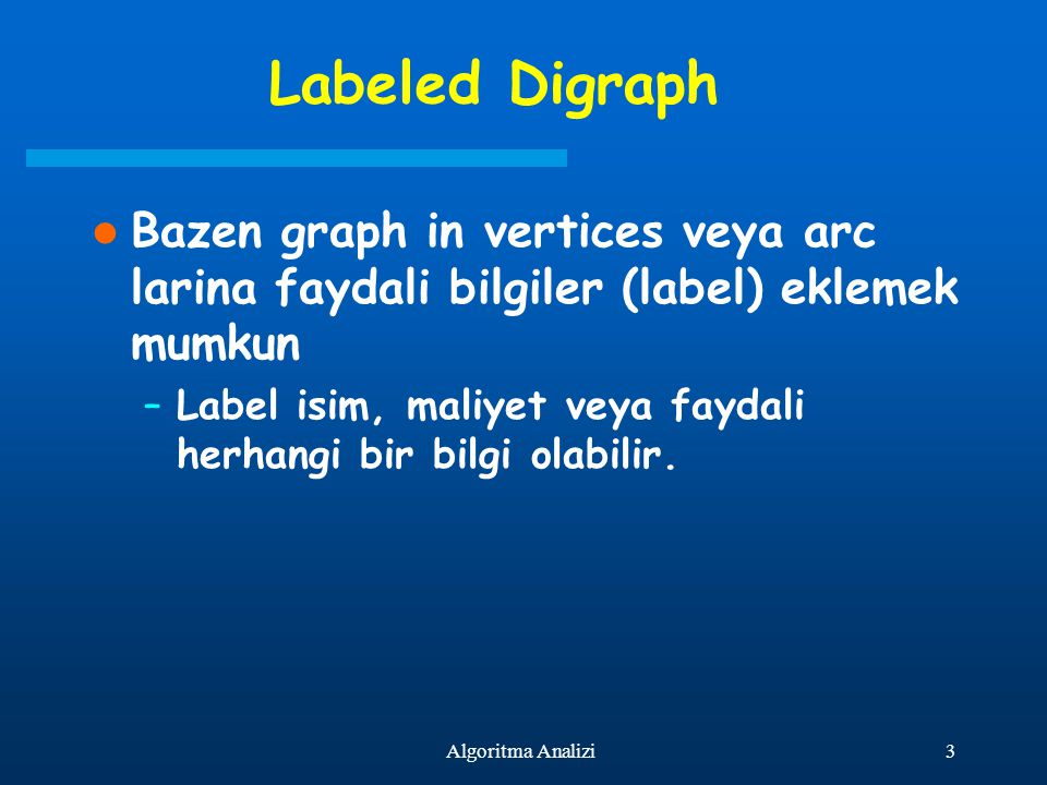 Labeled Digraph Bazen graph in vertices veya arc larina faydali bilgiler (label) eklemek mumkun.