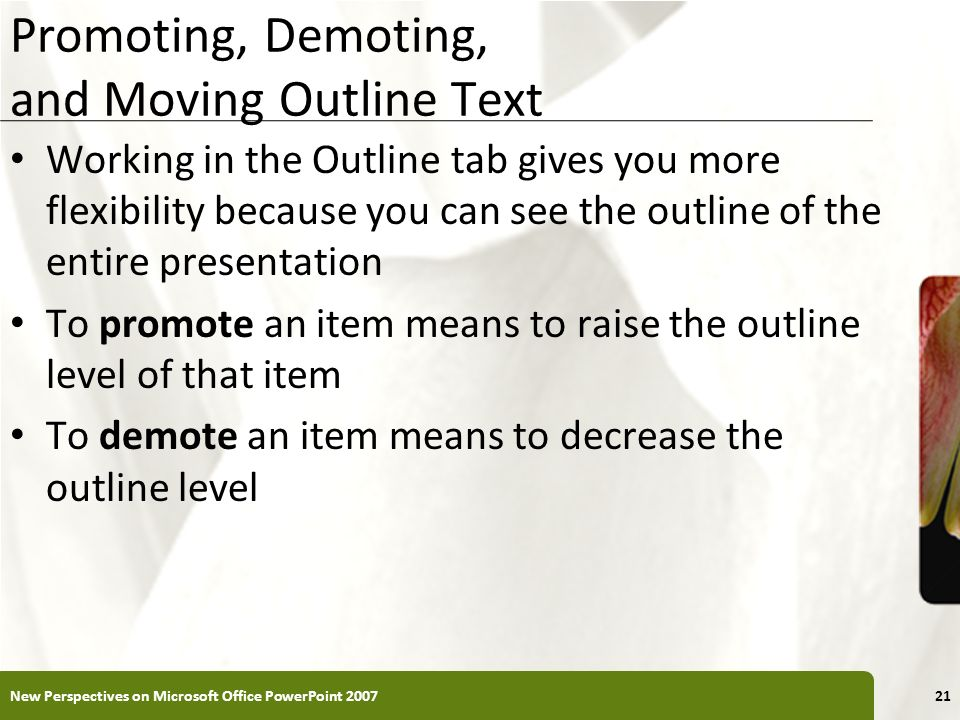 Promoting, Demoting, and Moving Outline Text