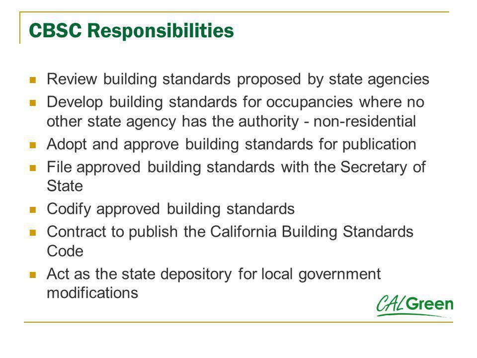 CBSC Responsibilities