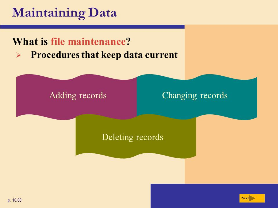Maintaining Data What is file maintenance
