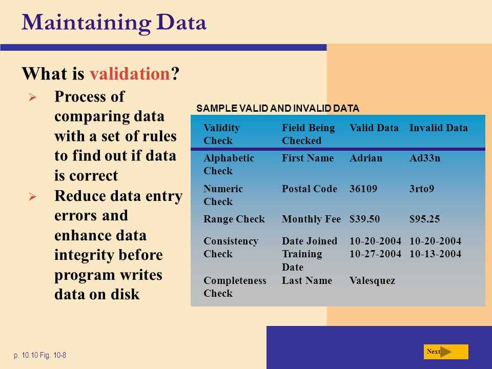 Maintaining Data What is validation