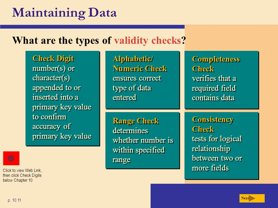 Maintaining Data What are the types of validity checks