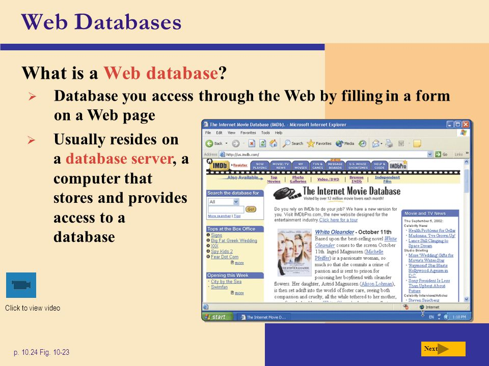 Web Databases What is a Web database
