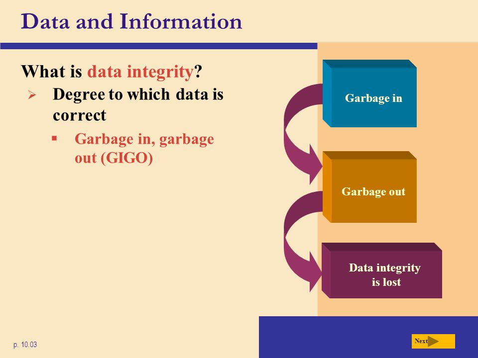 Data and Information What is data integrity