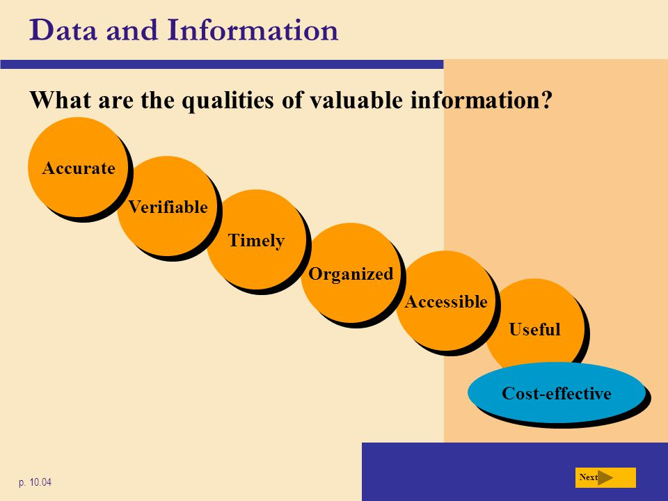 Data and Information What are the qualities of valuable information