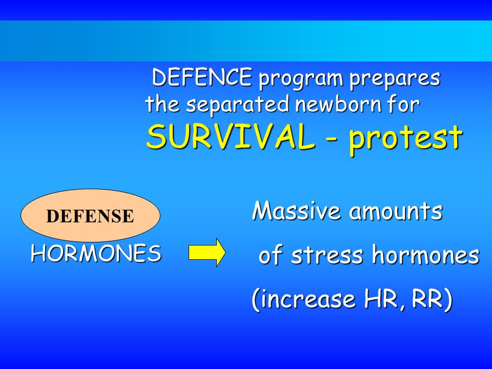 Massive amounts of stress hormones (increase HR, RR)