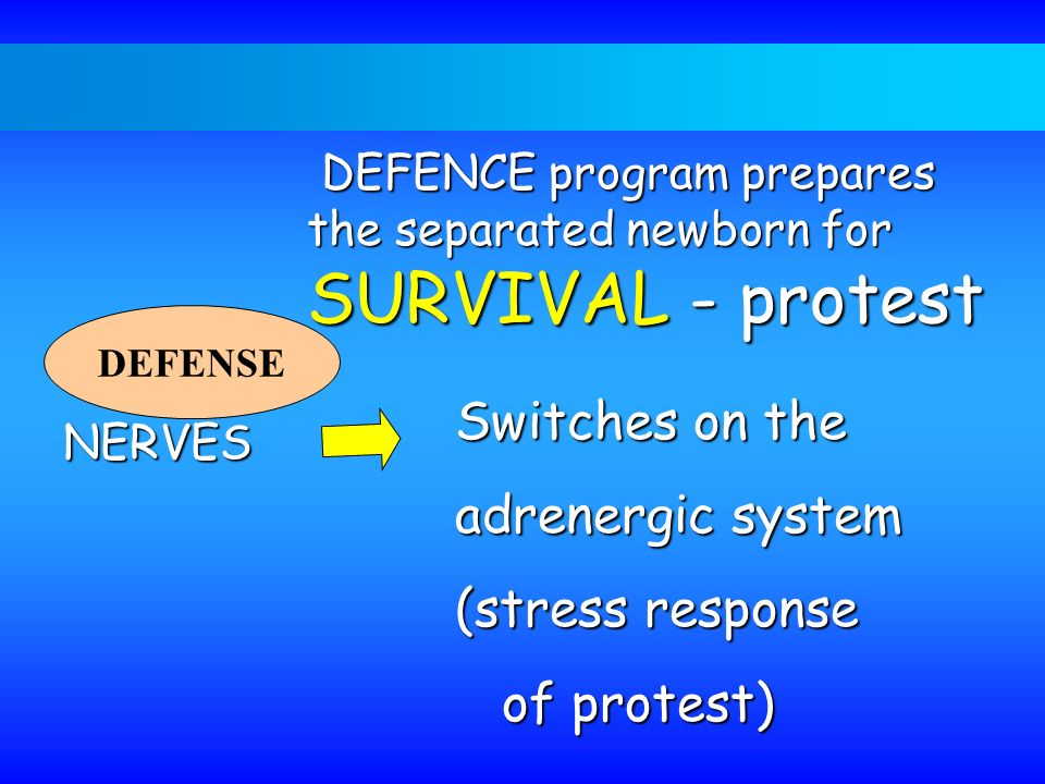 Switches on the adrenergic system (stress response of protest)