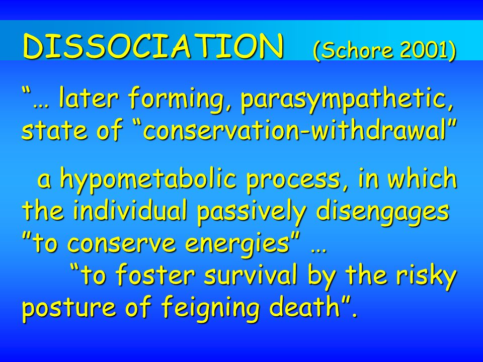 DISSOCIATION (Schore 2001)