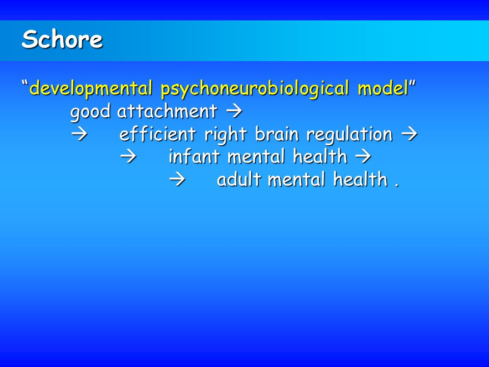 Schore developmental psychoneurobiological model good attachment 