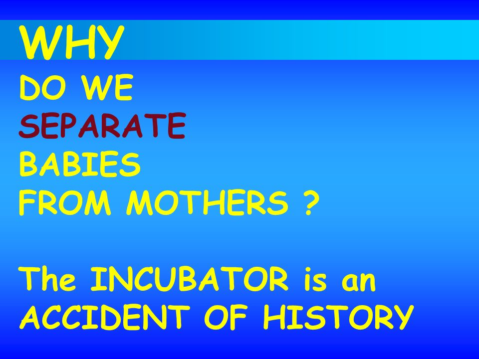 WHY DO WE SEPARATE BABIES FROM MOTHERS The INCUBATOR is an