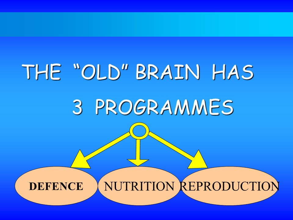 THE OLD BRAIN HAS 3 PROGRAMMES DEFENCE NUTRITION REPRODUCTION