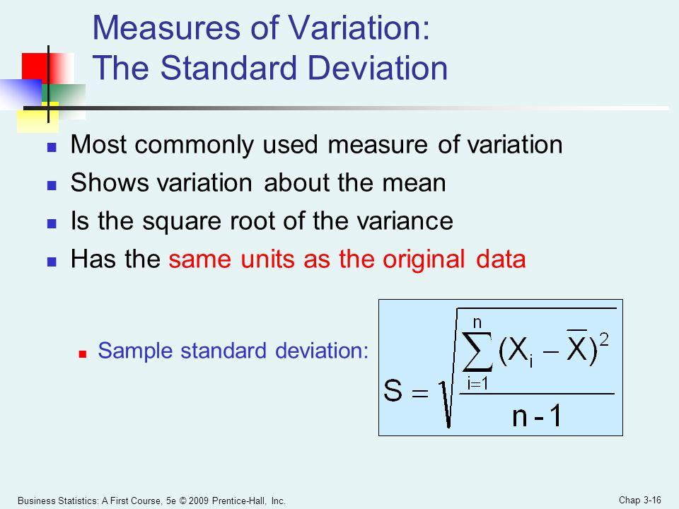 Measures of Variation: The Standard Deviation