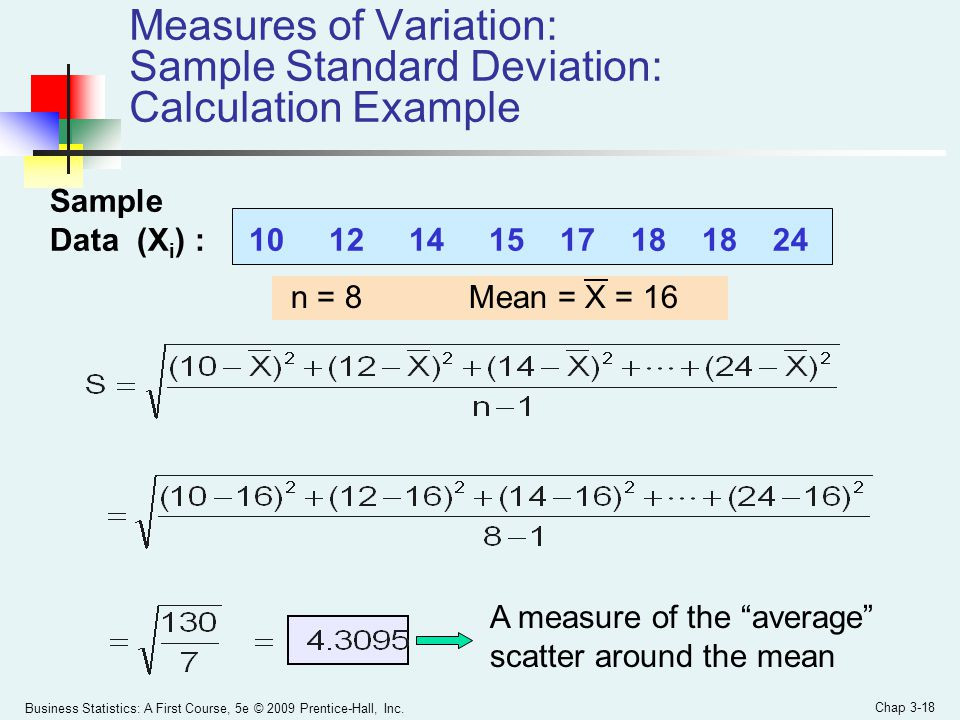 Measures of Variation: Sample Standard Deviation: Calculation Example