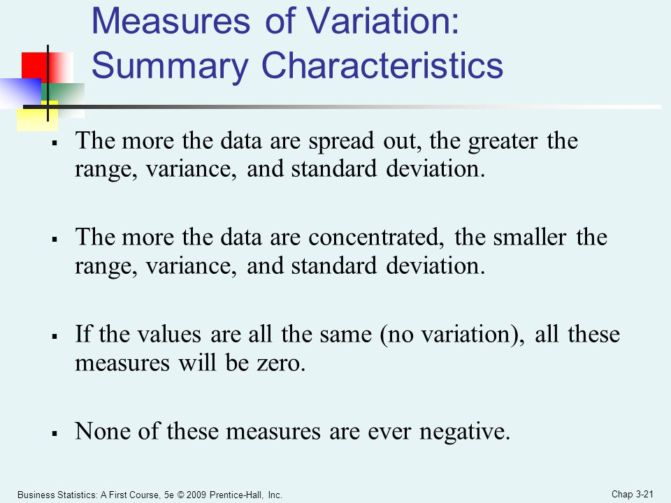 Measures of Variation: Summary Characteristics