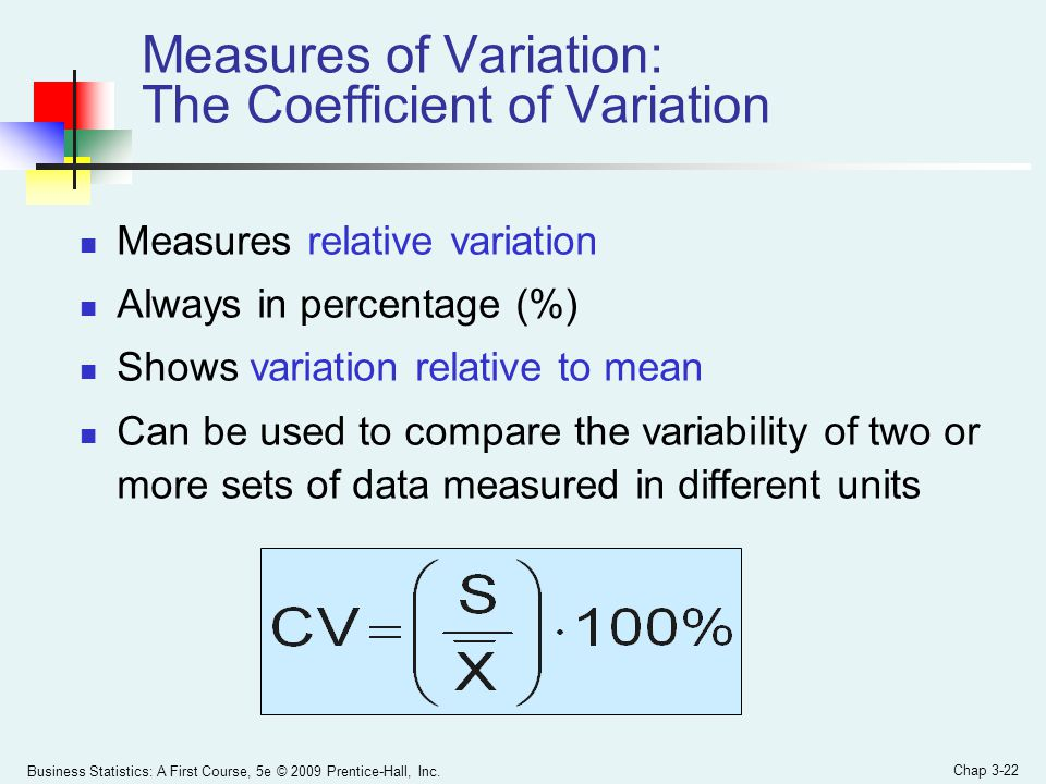 Measures of Variation: The Coefficient of Variation