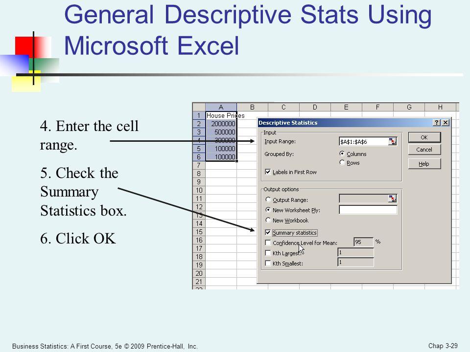 General Descriptive Stats Using Microsoft Excel