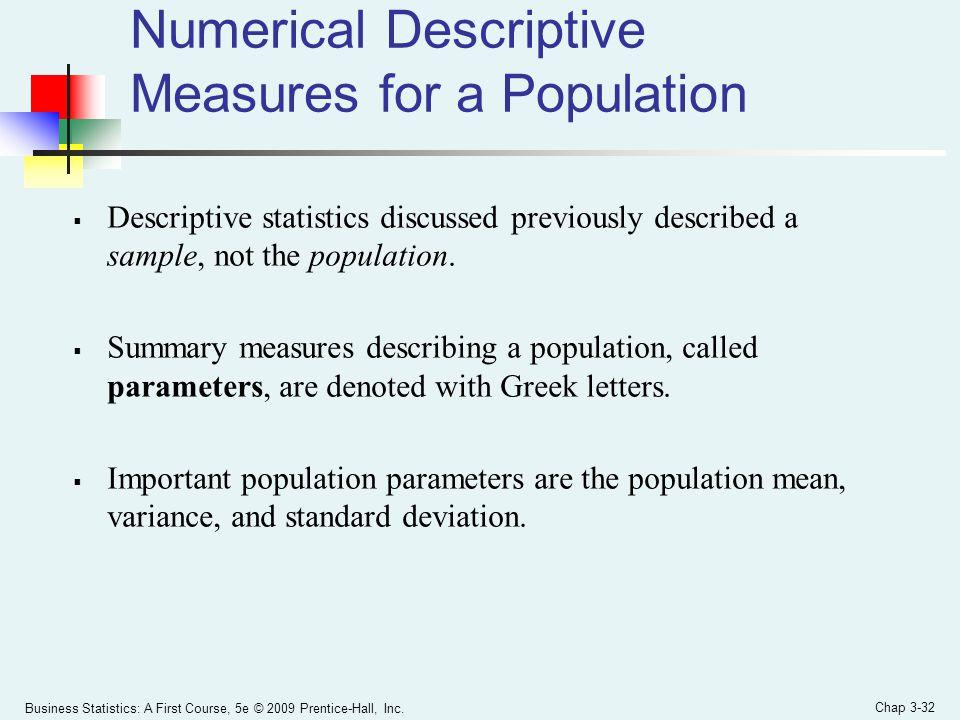 Numerical Descriptive Measures for a Population