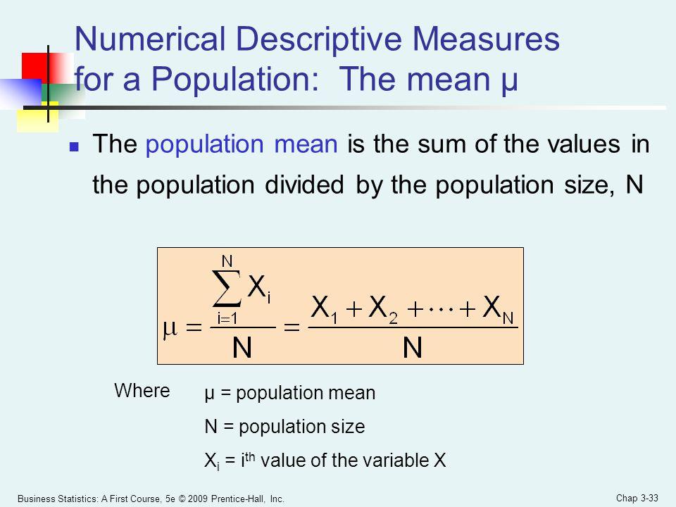 Numerical Descriptive Measures for a Population: The mean µ