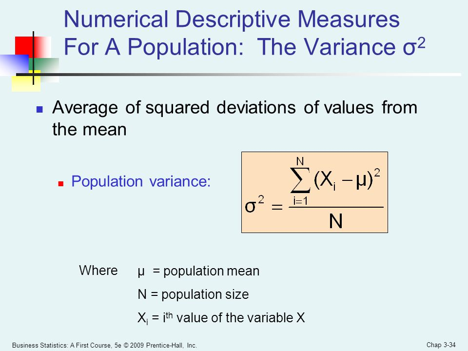 Numerical Descriptive Measures For A Population: The Variance σ2