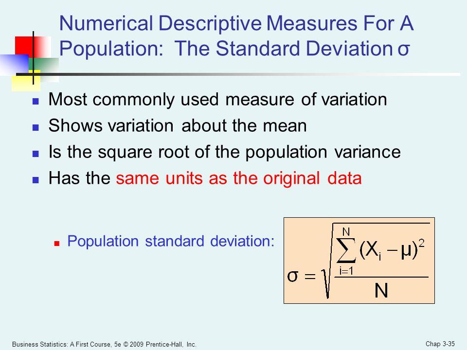 Numerical Descriptive Measures For A Population: The Standard Deviation σ