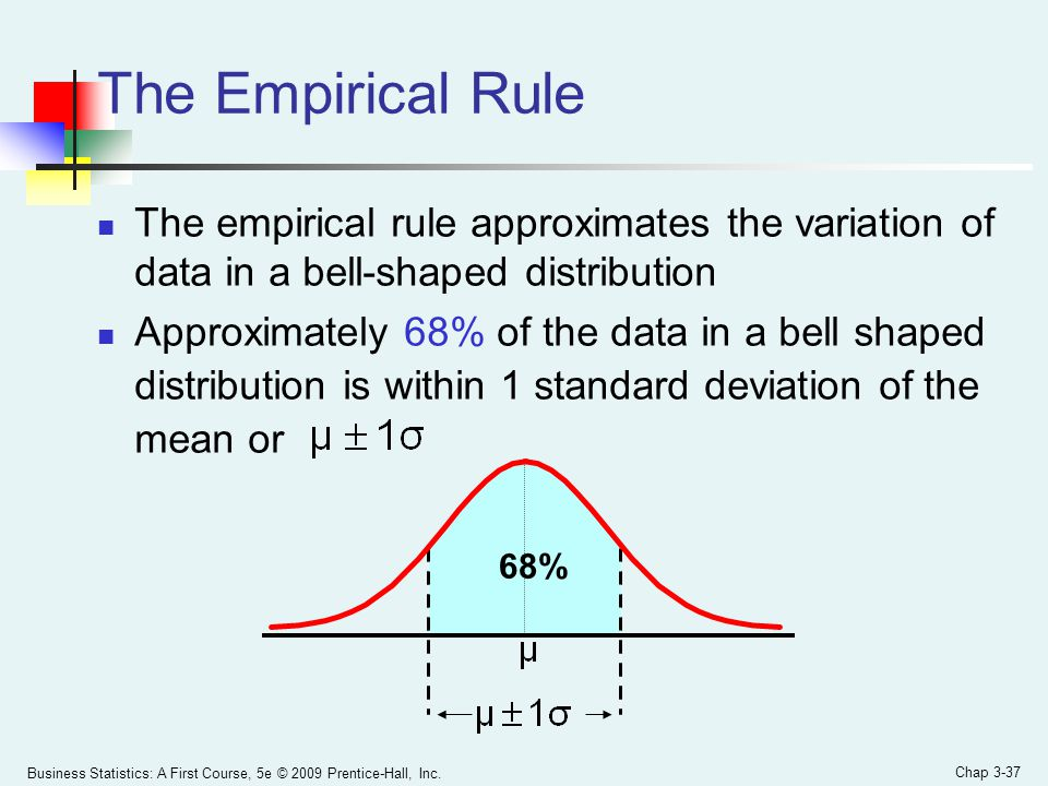 The Empirical Rule The empirical rule approximates the variation of data in a bell-shaped distribution.
