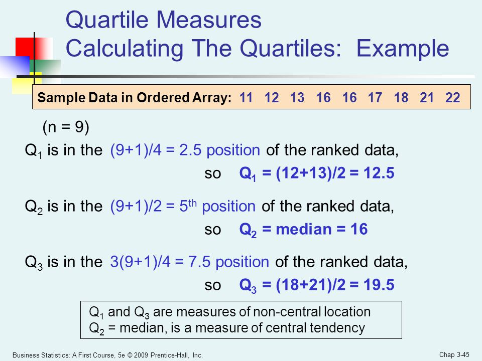 Quartile Measures Calculating The Quartiles: Example