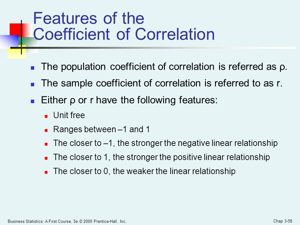 Features of the Coefficient of Correlation