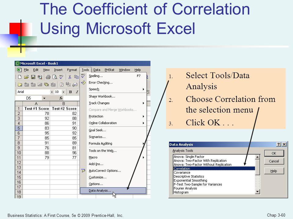 The Coefficient of Correlation Using Microsoft Excel
