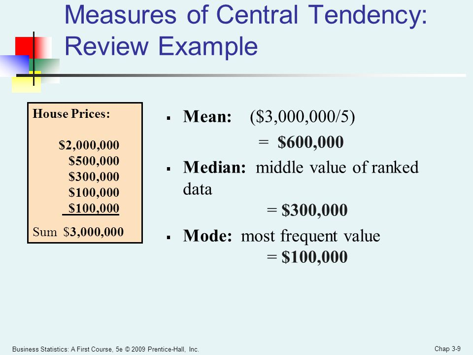 Measures of Central Tendency: Review Example