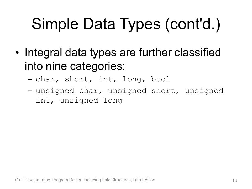 Simple Data Types (cont d.)
