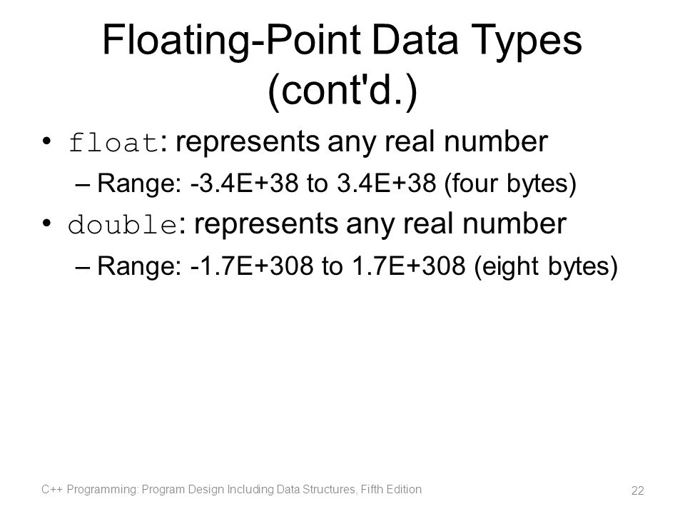 Floating-Point Data Types (cont d.)