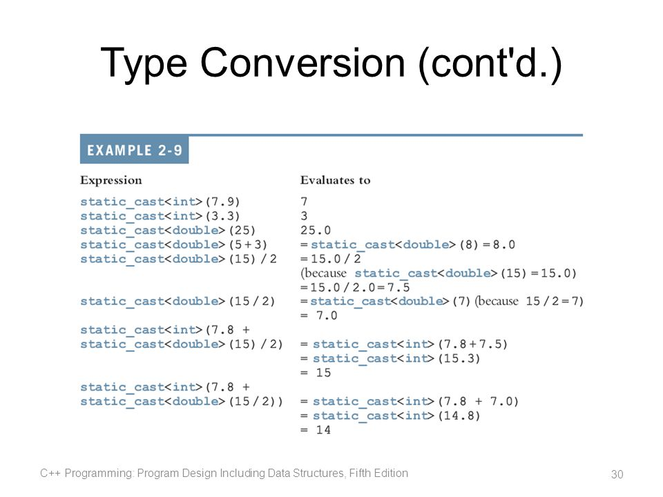 Type Conversion (cont d.)