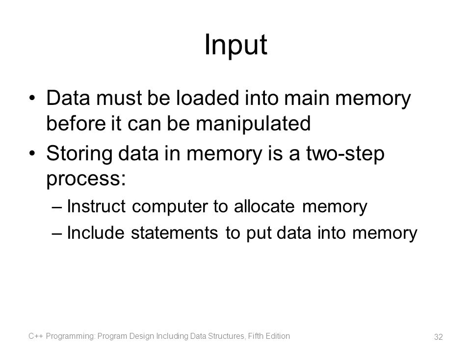 Input Data must be loaded into main memory before it can be manipulated. Storing data in memory is a two-step process: