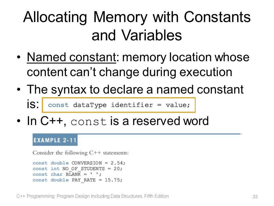 Allocating Memory with Constants and Variables