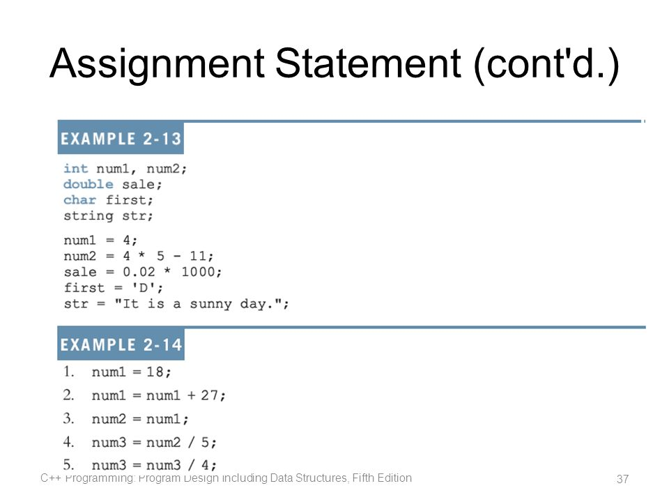 Assignment Statement (cont d.)