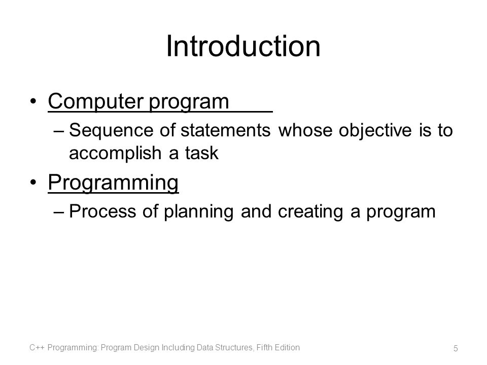Introduction Computer program Programming